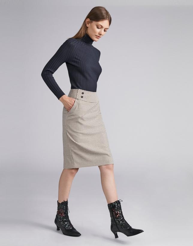 Beige houndstooth pencil skirt