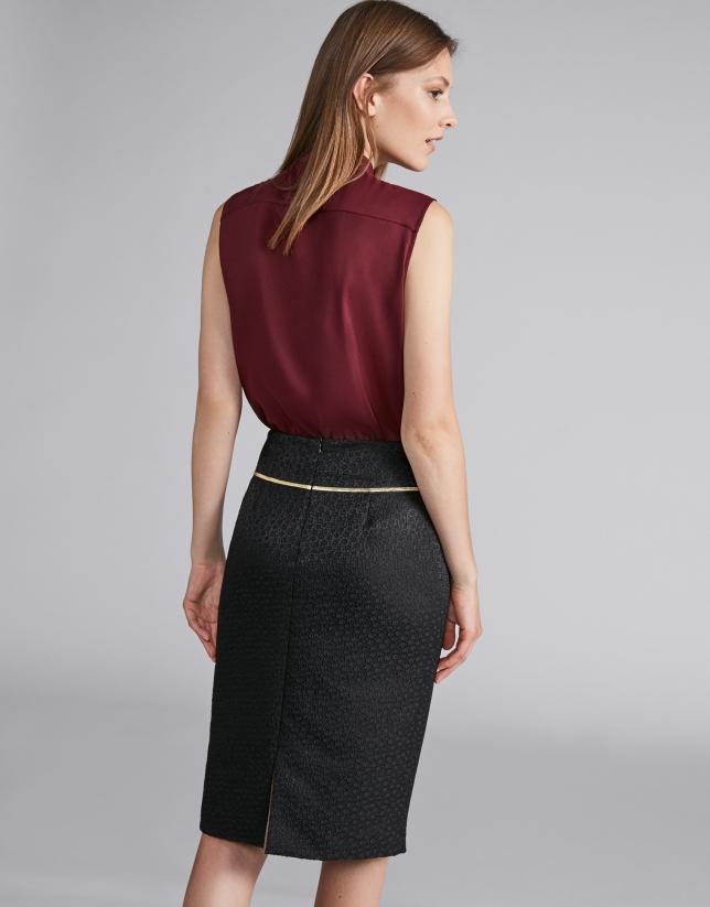 Black jacquard midi pencil skirt