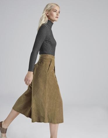 Jupe-culotte en velours couleur camel