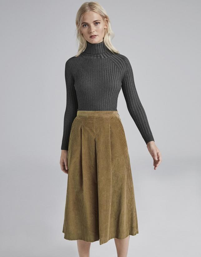 Falda pantalón pana cámel