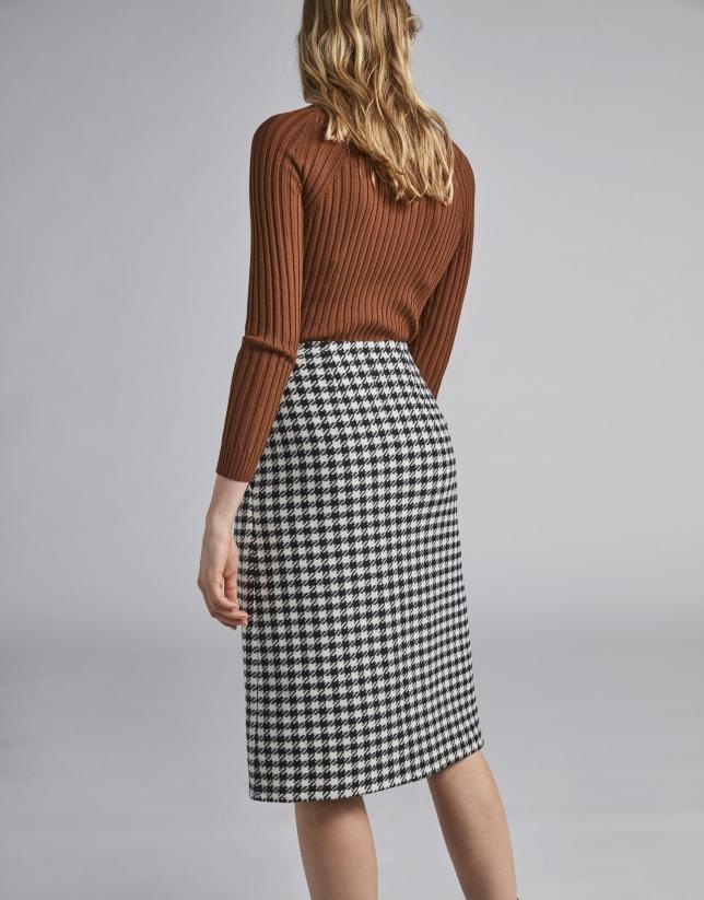 Houndstooth wrap-around skirt