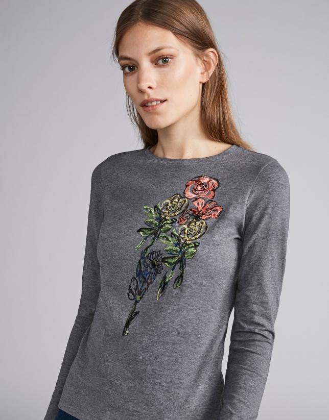 T-shirt couleur acier brodé floral