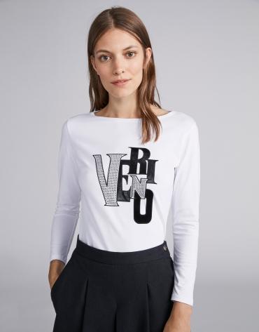 T-shirt blanc, logo en strass et tissu