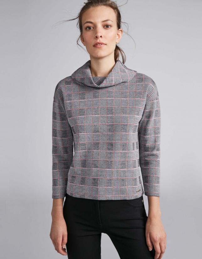 Gray knit glen plaid top