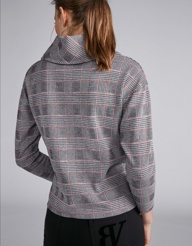 Gray knit glen plaid top with red lines