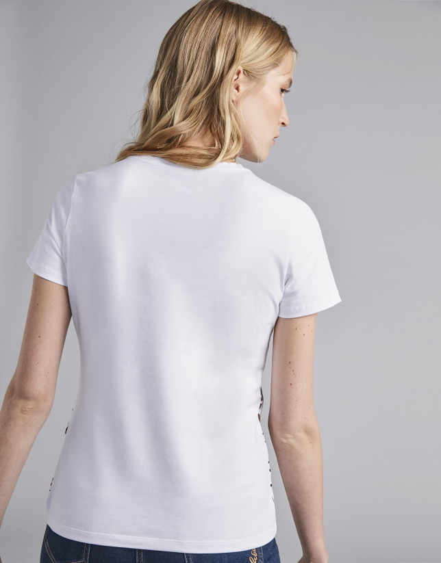 Camiseta blanca manga corta print RV