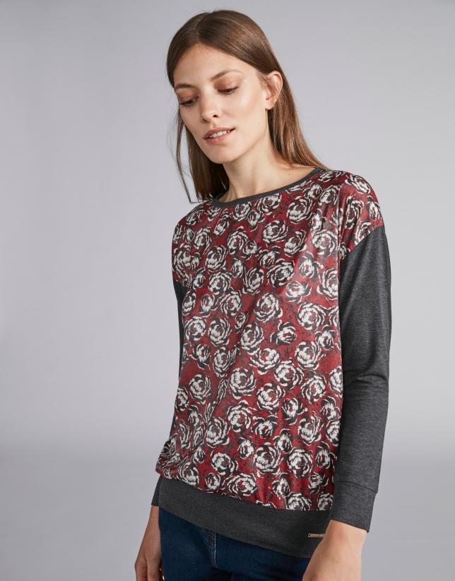 T-shirt couleur acier imprimé floral