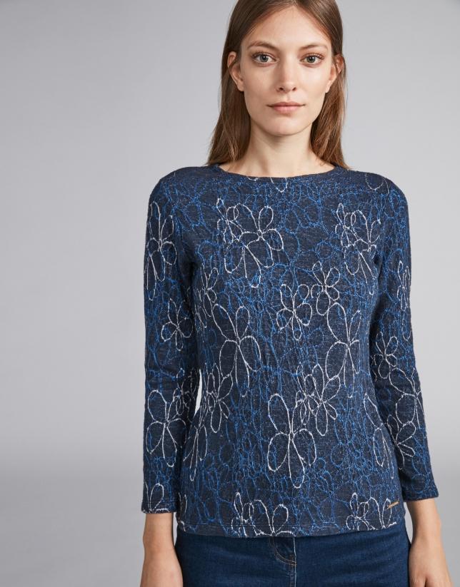 T-shirt en maille bleu marine imprimé floral