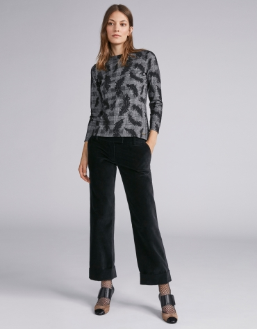 Black knit and jacquard top
