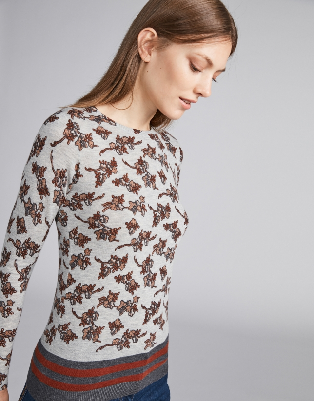 Fine knit top with floral print