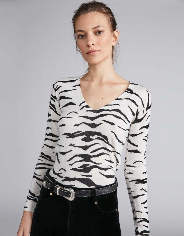 Camiseta punto color plata fantasía cebra