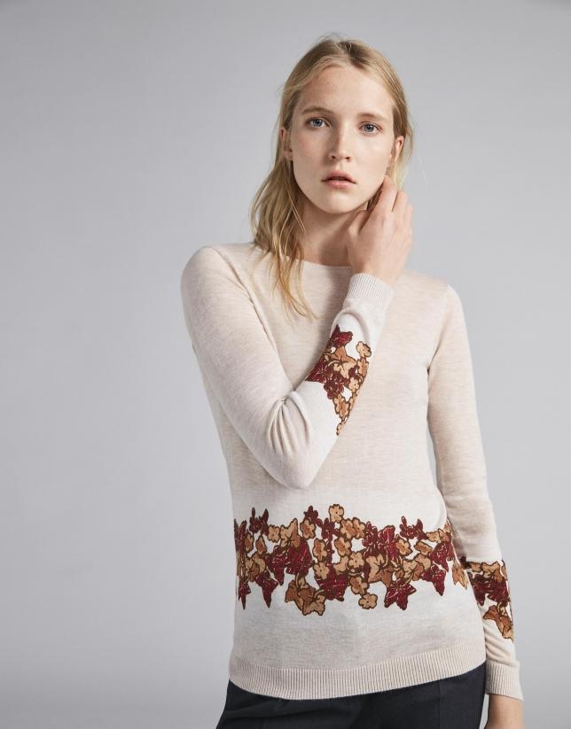Camiseta punto fino beige y estampado floral