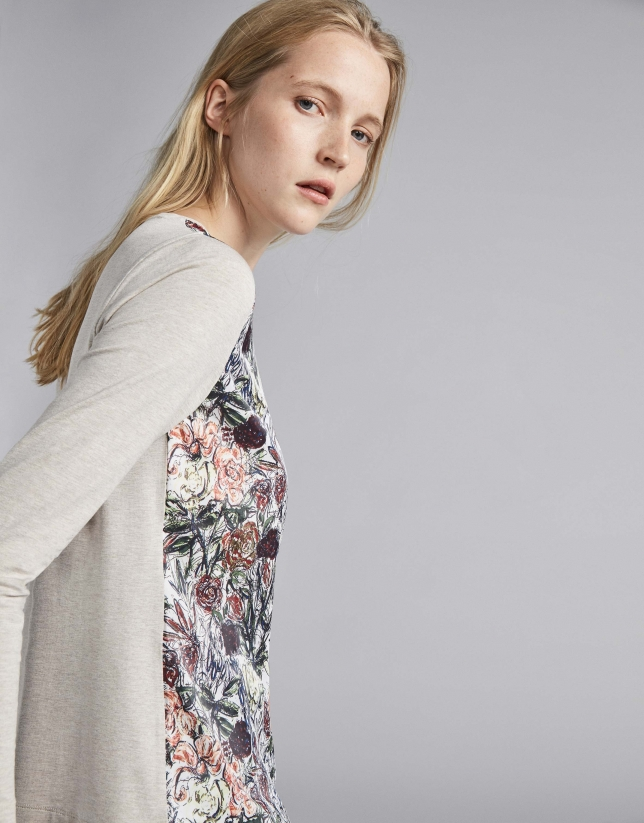Camiseta beige estampado floral