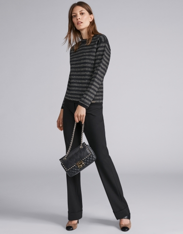 Black, lurex-striped sweatshirt