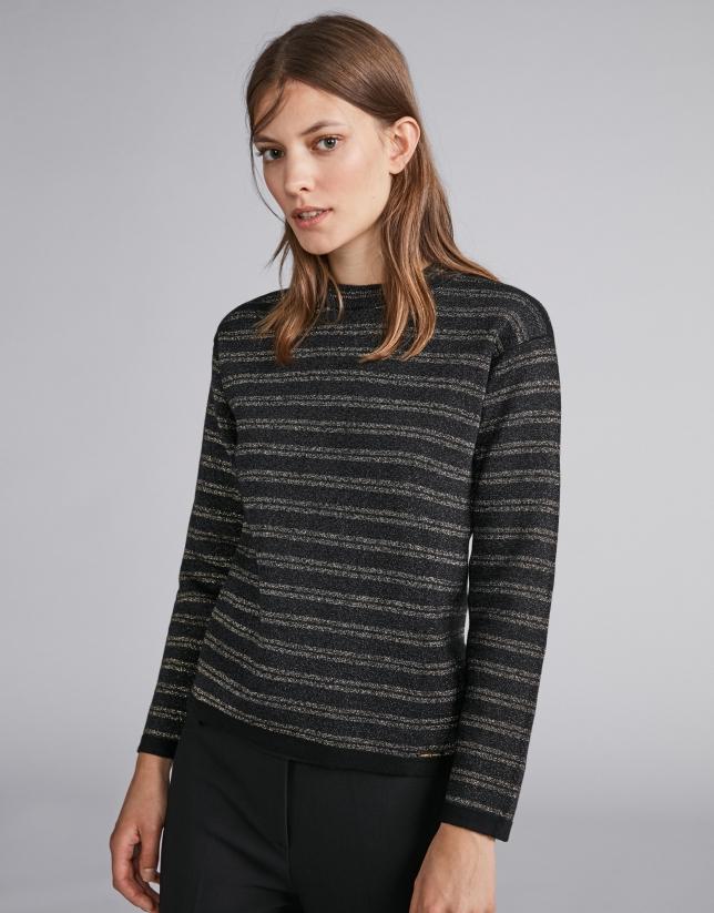 Black, lurex-striped sweatshirt