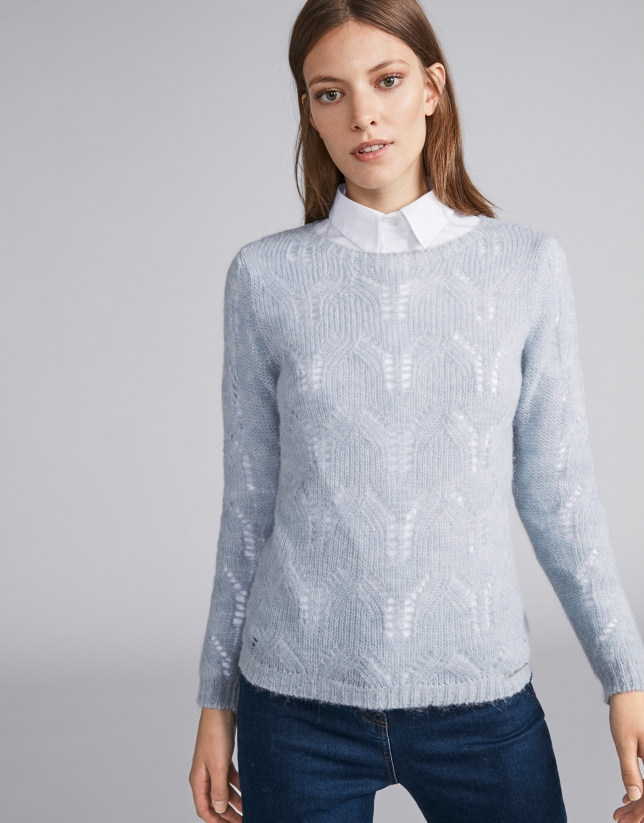Light blue openwork sweater