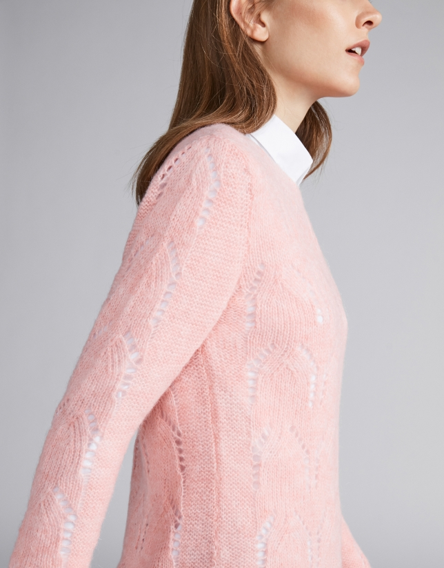 Pink openwork sweater