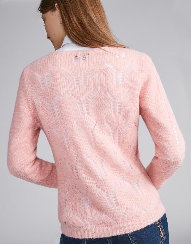 Jersey punto calado rosa