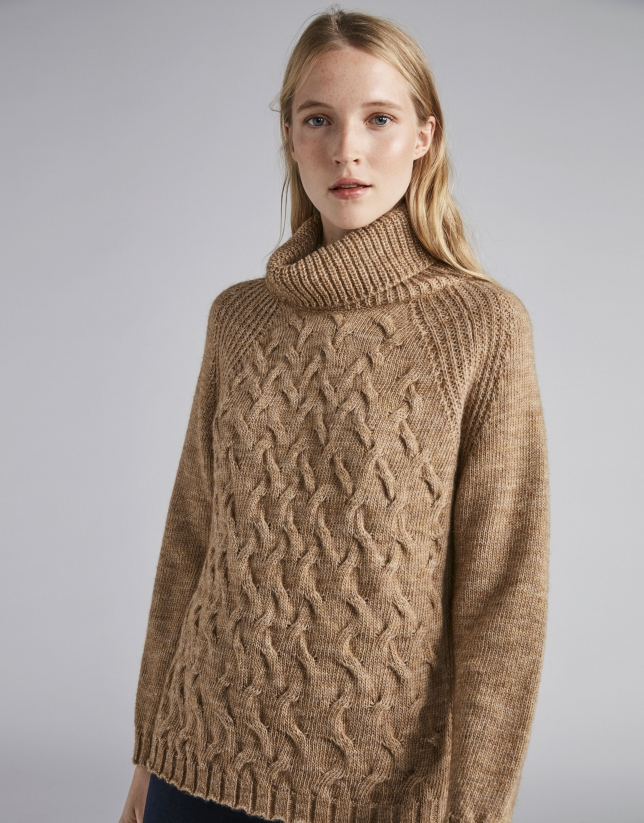 Mink-colored sweater with stovepipe collar and decoration