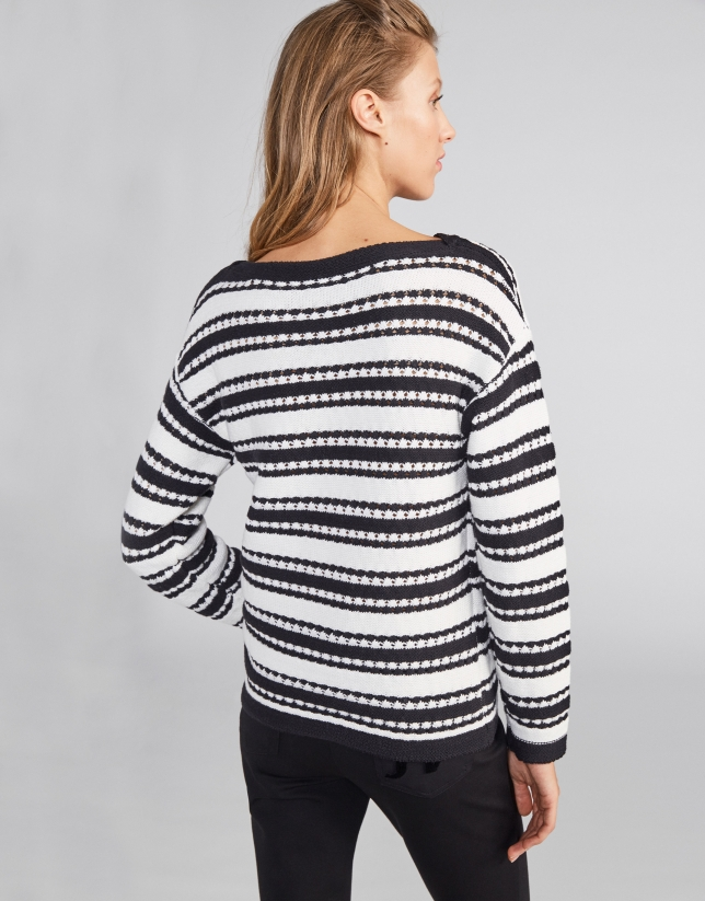 Black striped sweater with decoration