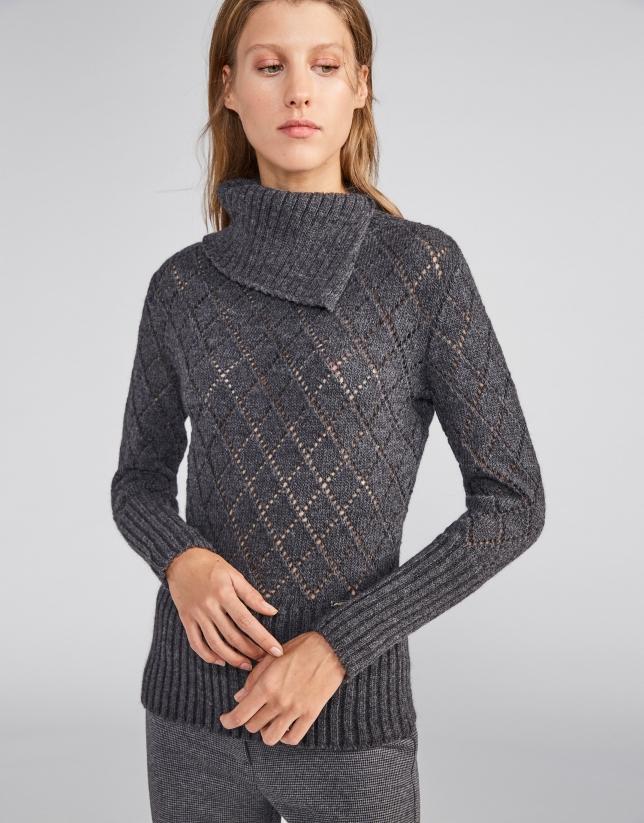 Jersey calado y cuello asimétrico gris marengo 6b6445d4d9b0