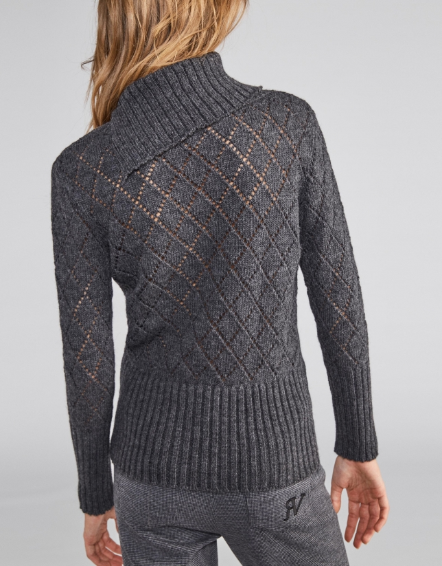 Marengo grey openwork sweater with asymmetric collar