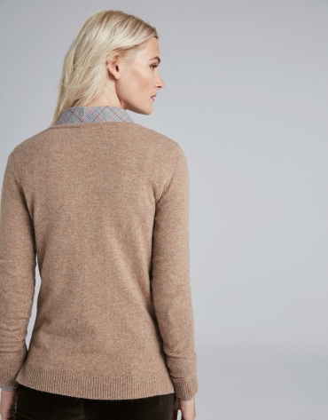 Mink-colored, V-neck sweater