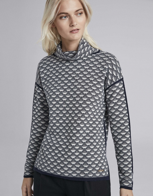 Navy blue knit sweater with geometric design