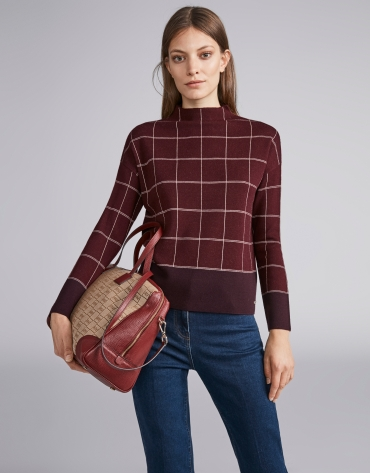 Burgundy oversized checked sweater with decoration