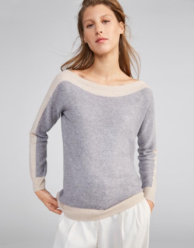 Jersey bicolor escote redondo plata 2bccfe6889ec