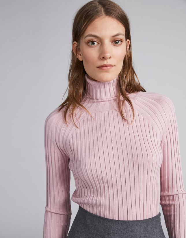 4628df811 Jersey canalé cuello tortuga rosa - Mujer