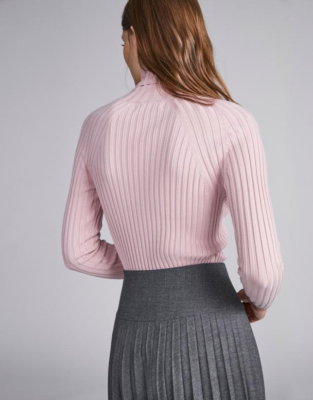 Jersey canalé cuello tortuga rosa