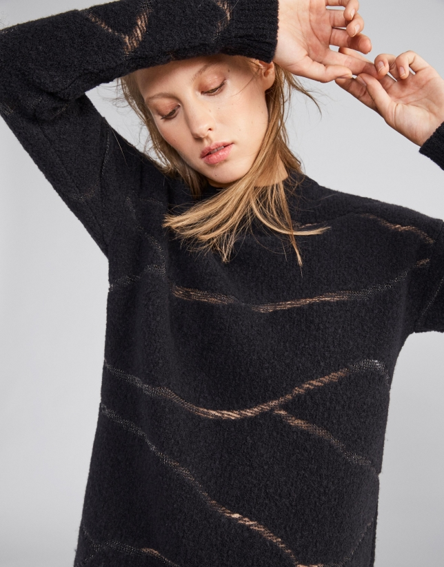 Black zebra design sweater