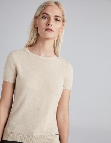 Beige short sleeved sweater set