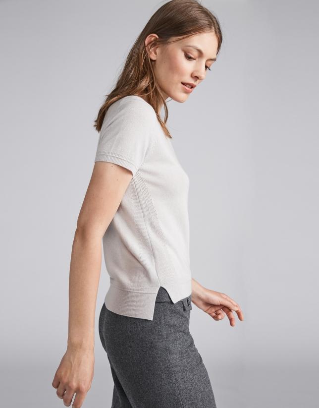 Pull à manches courtes gris twin set