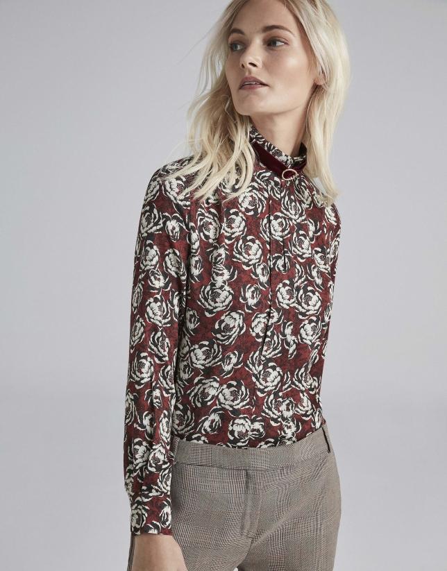 Camisa estampado floral granate