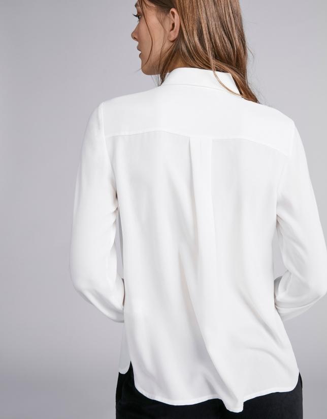 Camisa masculina crudo con combinado en vistas