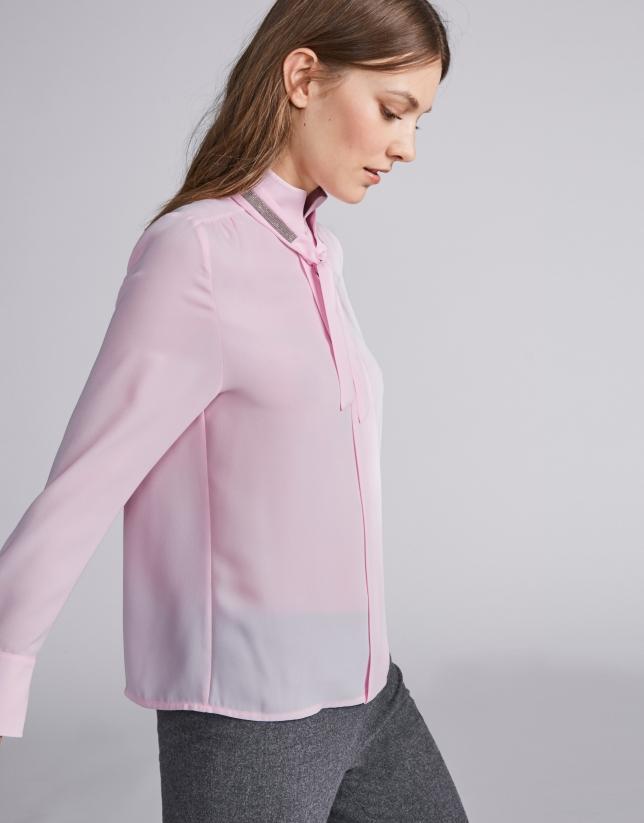 Camisa cuello Mao rosa