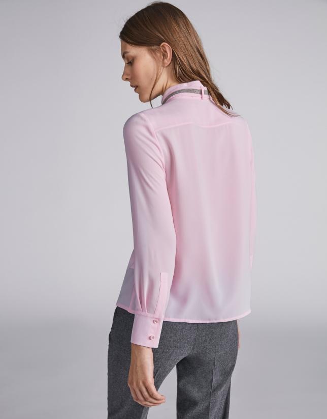 Pink shirt with Mao collar