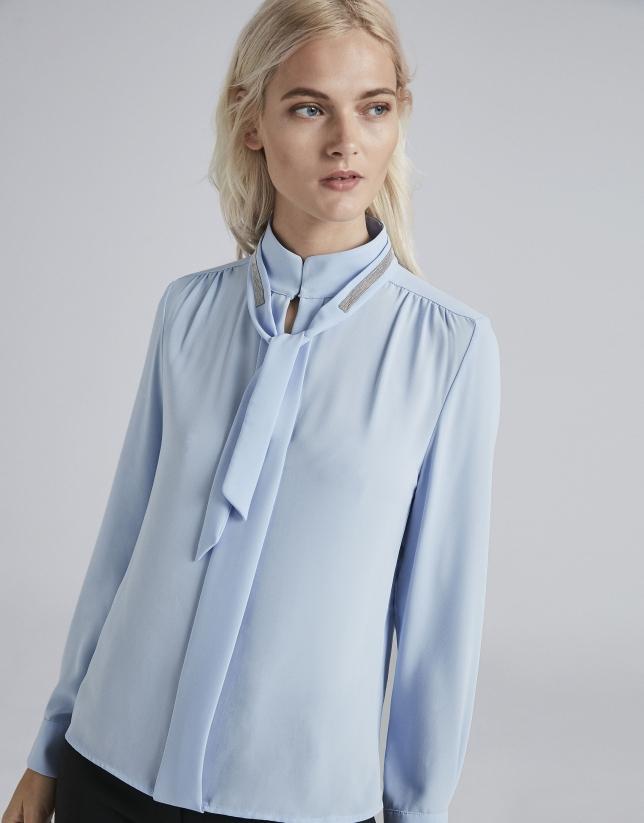 Chemise col Mao bleu ciel