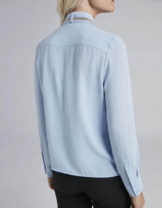 Camisa cuello Mao celeste