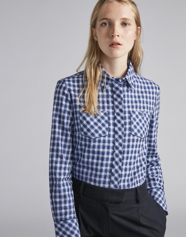 Camisa masculina cuadros azules