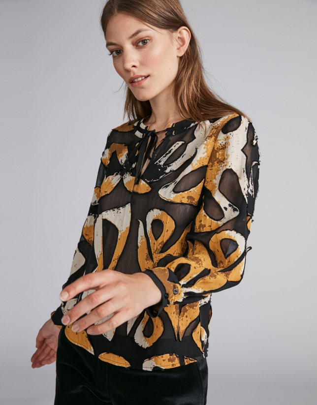 Ochre gold flowing lace shirt with print