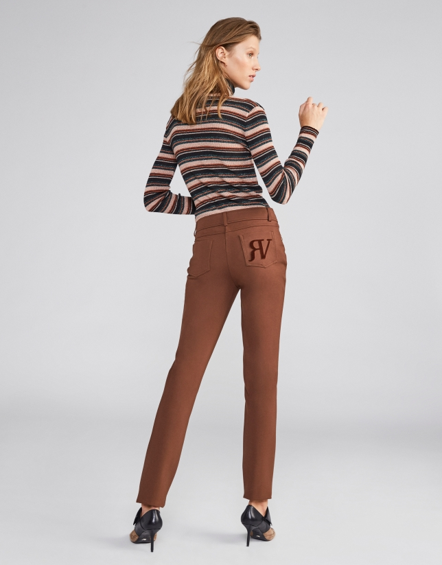 Light brown cigarette pants with 5 pockets