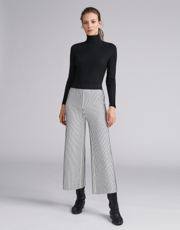 Striped knit palazzo pants