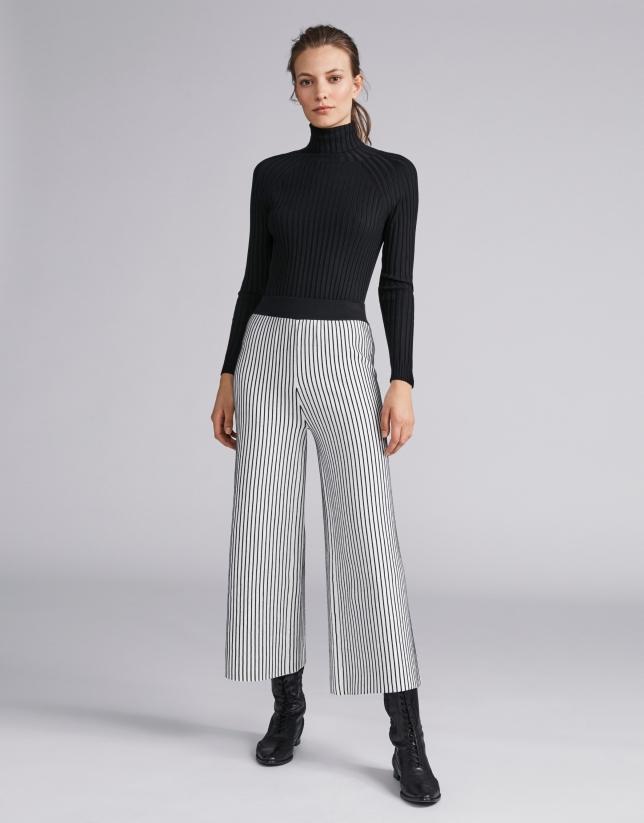 Striped knit palazzo pants