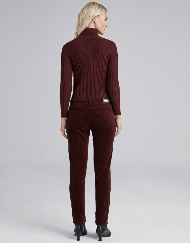 Burgundy plain corduroy pants