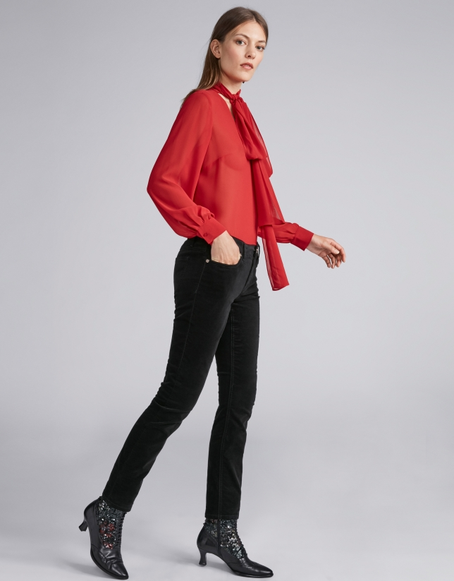Black Plain Corduroy Pants Woman Aw2018 Roberto Verino