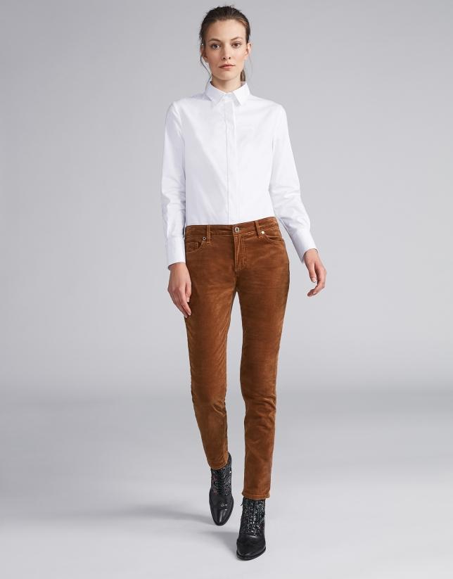 Pantalon en velours côtelé uni couleur vison