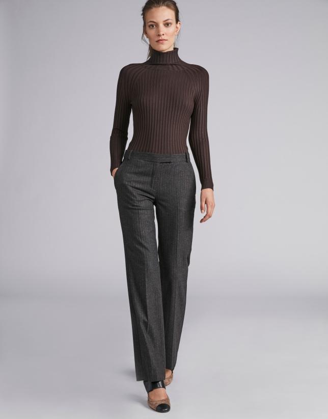 Pantalon à rayures couleur café